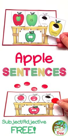 Fall speech language therapy activity. Apple visual support for expanding utterances.