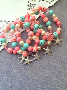 Mermaid, starfish, under the sea, party, children, child, kids, birthday, party favor, beaded, bracelets, stretchy. Set of TEN.