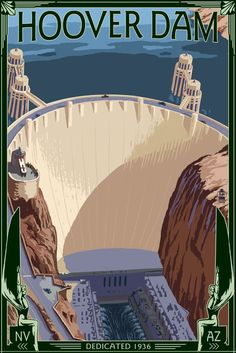 Hoover Dam Aerial - Lantern Press ArtworkQuality Poster Prints Printed in the USA on heavy stock paper Crisp vibrant color image that is resistant to fading Standard size print, ready for framing Perfect for your home, office, or a gift Art Deco Posters, Cool Posters, Retro Posters, Movie Posters, Vintage Advertisements, Vintage Ads, Party Vintage, Voyage Usa, Illustrations Vintage