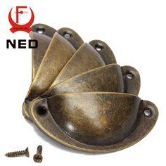 NED 20 UNIDS Retro de Metal Cajón de la Cocina Puerta Manija Del Gabinete Y Muebles Perillas Hardware Armario Tiradores de Latón Antiguo Shell
