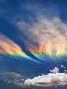 "✯ Fire Rainbow - If the sun is at an elevation of 58 degrees or higher and cirrus clouds containing plate-shaped ice crystals are present, you may be lucky enough to see the rare ""fire rainbow,"" or circumhorizontal arc."