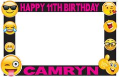 Emojis photo frame and props 13 by ScozShop on Etsy Happy 11th Birthday, 10th Birthday Parties, Birthday Diy, Emoji Theme Party, Bday Girl, Its My Bday, Birthday Invitations, Party Planning, Party Time
