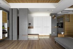 Contemporary apartment designed by HOYA design located in Taipei, Taiwan. Living Room Modern, Living Room Interior, Apartment Interior Design, Interior Decorating, Contemporary Apartment, Wood Interiors, Home Trends, Architect Design, Minimalist Design