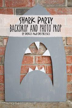 DIY shark party backdrop and photo prop