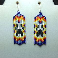 Paw Beaded Earrings by DoubleACreations on Etsy