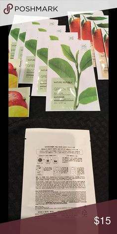 Nature republic face mask sheet. Korean face mask sheet hydration for face.  Choose 5.  Green tee, mango, orange. 5 for $13 Nature Republic Makeup