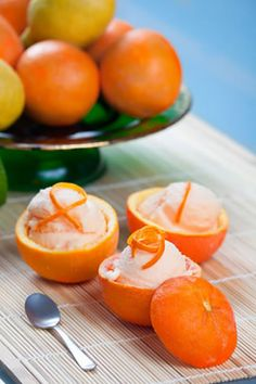 Citrus sorbet is a wonderfully refreshing dish and if you are looking for Mexican dessert ideas for the summer, this one is guaranteed to cool you down. Maybe you have made a peach sorbet recipe with orange juice before or a lemon sorbet recipe. Perhaps you are new to making sorbets and you will not find this recipe hard at all. The orange sorbet is served inside the orange shells, to make them eye catching. If you wanted to make mini sorbets, you could use clementines or tangerines instead…