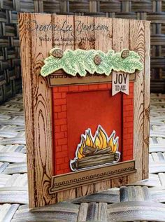 handmade winter/Christmas card: Festive Fireplace by Wendy Lee, #creativeleeyours, Stampin' Up!, ... luv the tone one tone stamping and country look colors ... woodgrain base ...