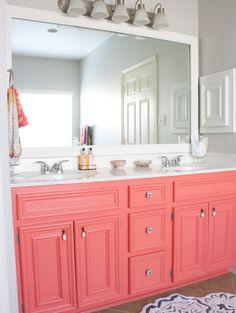Orange bathrooms on pinterest bathroom orange bathroom for Pink and orange bathroom ideas