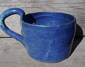 Denim blue rustic country cottage looking clay hand made (on potters wheel) mug/cup for $5.00 at www.etsy.com/shop/bethpiggott