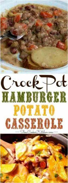 Slow Cooker Hamburger Potato Casserole | SlowCookerKitchen.com