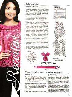 Crochê Meire: crochê blusas-regatas Rosa Pink, Crochet Blouse, Crochet Tops, Scarf Hat, Short Tops, Crochet Clothes, Hand Stitching, Projects To Try, Crochet Patterns