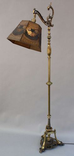 Rembrandt Brass Amp Marble Floor Lamp With Lion Head And Art