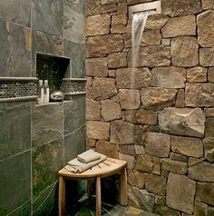 Desain Kamar Mandi Menggunakan Batu Alam dan Kayu #iDeaRumahidaman #desainrumah #kamarmandi #bathroom #batualam #desainkamarmandi #desainbatualam