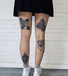 Back Of Leg Tattoos, Girl Leg Tattoos, Leg Tattoos Women, Tattoo Legs, Dope Tattoos, Body Art Tattoos, New Tattoos, Traditional Tattoo Knee, Sorry Mom Tattoo