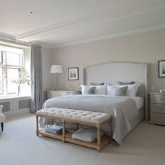 Master Bedroom Ideas for Couples on a Budget -Traditional grey bedroom by Sims Hilditch Farmhouse Master Bedroom, Master Bedroom Design, Home Bedroom, Modern Bedroom, Bedroom Furniture, Farmhouse Bench, Master Bedrooms, Trendy Bedroom, Bedroom Neutral