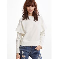 SheIn(sheinside) White Drop Shoulder Ruffle Trim Sweatshirt ($8) ❤ liked on Polyvore featuring tops, hoodies, sweatshirts, white, flutter-sleeve top, crew neck pullover, white crew neck sweatshirt, ruffle top and long sleeve sweatshirt