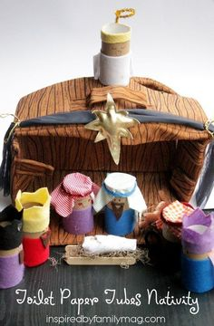 TP tube nativity craft - Inexpensive and fun for the little ones. I just had a group of moms & toddlers make these. It was a big hit. Christmas Arts And Crafts, Preschool Christmas, Christmas Activities, Christmas Projects, Kids Christmas, Holiday Crafts, Christmas Printables, Paper Towel Roll Crafts, Christmas Manger