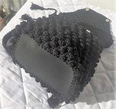 Crochet backpack Bobble Stitch made of polyester cord yarn in black color. Backpack sizes cm, height 35 cm, 60 cm long strap or inches. Crochet Stitches, Crochet Hats, Crocheted Bags, Crochet Backpack, Bobble Stitch, Cord, Amethyst, Backpacks, Texture