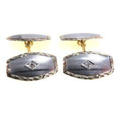 Vintage to Antique Platinum 14k Gold Diamond Edwardian Cufflinks