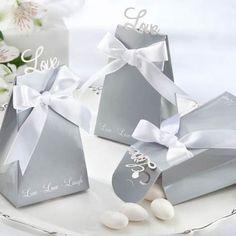 Engagement Party Favors: Silver Live.Laugh.Love Favor Boxes