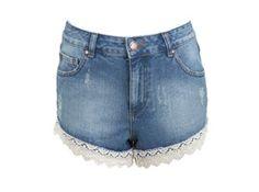 Lace Trim Denim Shorts  Miss Selfridge  £32