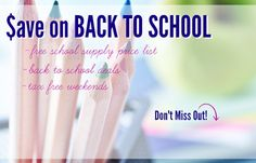 Deals for back-to-school. I love coupons and savings. List of specials on all the essentials #firstdayofschool