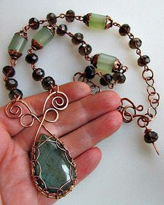Labradorite, Smokey Quartz & New Jade Necklace
