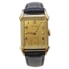 Pre-owned Hamilton 14K Yellow Gold with Leather Band 23.5mm Unisex... ($600) ❤ liked on Polyvore featuring jewelry, watches, unisex watches, leather band watches, pre owned watches, brown leather band watches and 14k gold watches