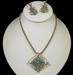 Vintage Blue & Clear Rhinestone Necklace Earring Brooch Set Gorgeous! $48.00 SOLD