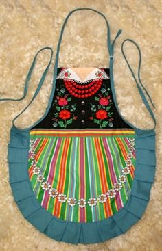 Delightful cooking apron with a Lowicz costume design, This apron makes a perfect gift for anyone looking for an upscale kitchen accessory or gift. It's also a great low cost alternative when you need to wear a Polish costume. Great way to display you h Polish Easter Traditions, Polish Folk Art, Jw Gifts, Scandinavian Folk Art, Arts And Crafts House, Cross Stitch Finishing, Art Costume, Sewing Aprons, Daisy
