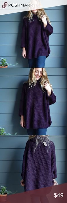 "L O U & G R E Y • CABLE PONCHO Gorgeous Dark purple and a hint of blue cable poncho from Lou & Grey! • Size XS/S • Brand New With Tags! • Length 25.5"" • 89% Acrylic • 10% Polyester • Please note I am 5'1"" Lou & Grey Sweaters Shrugs & Ponchos"