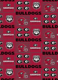 University of Georgia Bulldogs Cotton Fabric-Box Logo Design-Sold by the Yard-Sykel's Newest Pattern Official Nfl Football, California Golden Bears, Florida State University, Fabric Boxes, Box Logo, Have A Blessed Day, Georgia Bulldogs, Blue Stripes, How To Find Out