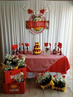Chá bar Duda e Rodrigo Open House, Table Decorations, Brahma, Picnic, 35, Birthday, Creative, Party, Wedding