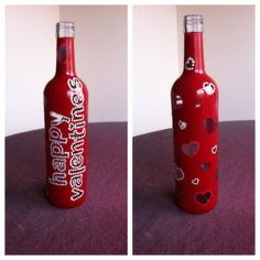 My new wine bottle design for Valentine\'s day... with lights ...