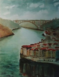 """Porto"" pintura  a Aguarela de Edmundo Isidro"