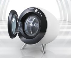 Sphere washing machine by EmamiDesign. Love this! Great combination of retro and futuristic design.
