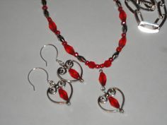 Handmade Heart and Earring set, in Red Glass Bead