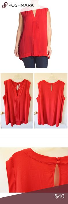 """Melissa McCarthy ❤️ Crepe High-Low Tunic Size 2x Gorgeous and flattering, this Melissa McCarthy for Nordstrom tunic is a showstopper! A stunning shade shade of red with a hint of red-orange that looks amazing layered with a sweater & belt or with a long statement necklace over white or blue jeans. The high-low style is extremely flattering and covers both tummy and rear. :) The crepe material is very comfortable and has some stretch to it. Measures 32.5"""" shoulder to hem in front, 39"""" in…"""