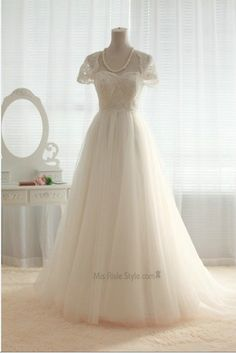 A-line Cap Sleeves Lace and Tulle Wedding Dress