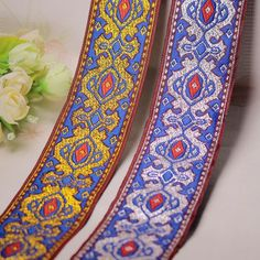 DIY polyester cotton vintage embroidery jacquard webbing woven tape lace trim ribbon garment cloth dress collar hometextile bags accessory gift packing decoration 4cm ethnic tribal boho gypsy indian hmong native  Style ref.# ZD92  Size: about 5...