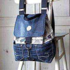 Retro Backpack, Diy Backpack, Fashion Backpack, Fashion Bags, Jean Backpack, Shirt Refashion, Diy Shirt, Cami Tops, Mochila Retro