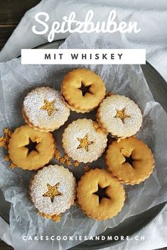 Rezept für Whiskey Spitzbuben mit Ganache  #wiskey #spitzbuben #ganache #rezept International Recipes, Creative Food, Biscotti, Christmas Cookies, Cookie Recipes, Muffin, Good Food, Xmas, Sweets