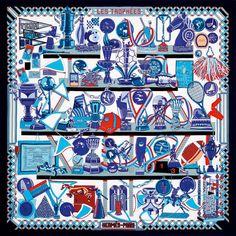 Silk twill scarf LES TROPHEES. #Hermes #Silk #Blue