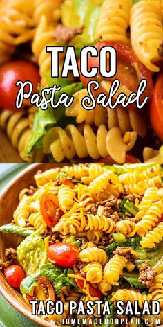 Traditional taco pasta salad made with spiral pasta, ground beef, Taco Salad Recipes, Salad Recipes Video, Mexican Food Recipes, Beef Recipes, Cooking Recipes, Healthy Recipes, Taco Salads, Veggie Taco Salad, Cold Pasta Recipes