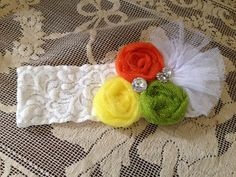 DIY vintage baby/toddler headband candy corn fall thanksgiving white yellow orange green lace diamonds. MLL