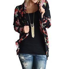 Slim Jacket Basic Coats Women Autumn Outerwear Vintage Lady Ethnic Floral Print Boho Irregular Bomber JacketS Wrap Cardigans H1