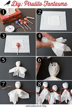 Ghost Lollipop - Ghost lollipop for halloween. -DIY: Ghost Lollipop - Ghost lollipop for halloween. Comida De Halloween Ideas, Dulceros Halloween, Bonbon Halloween, Classroom Halloween Party, Adornos Halloween, Halloween Crafts For Kids, Halloween Snacks, Halloween Birthday, Diy Halloween Decorations