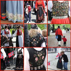A collage of just a few of the many bunads seen at the Syttende Mai celebration in Oslo, Norway.
