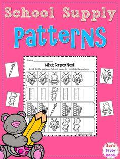 School Supply Patterns for PreK - 1